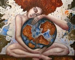 mujer abraza mundo